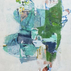 Delta (Abstract Expressionist Oil Painting on Canvas in Teal, Aqua Blue & Green)
