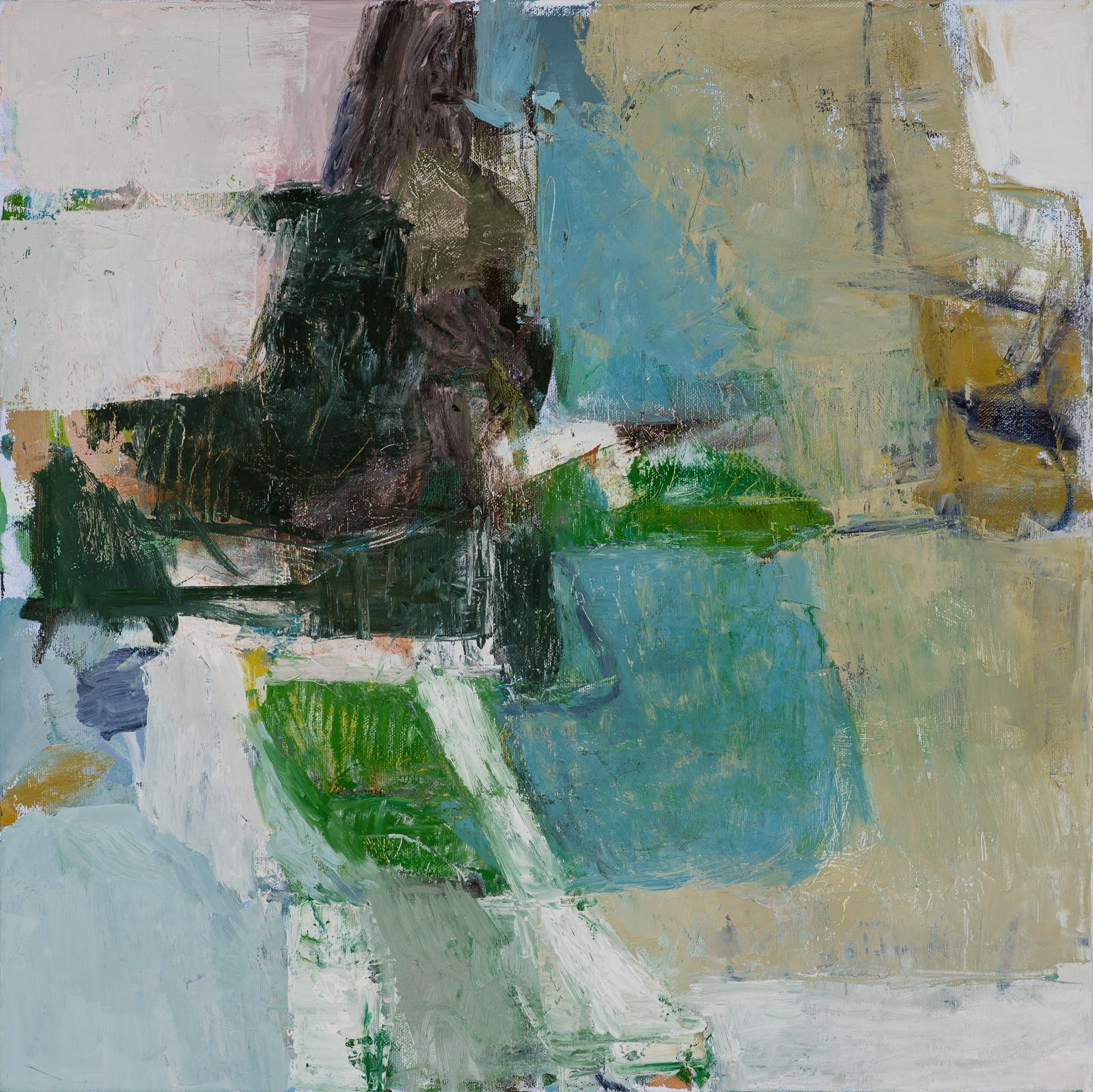 Nesting: Abstract Expressionist Painting on Canvas in Blue, Green, Black & Pink