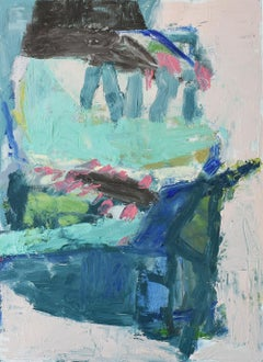 No. 2: Abstract Expressionist Oil on Canvas Paper in Blue, Teal & Light Pink