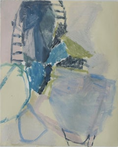No. 4: Small Abstract Expressionist Monotype in Navy Blue, Soft Yellow & Green
