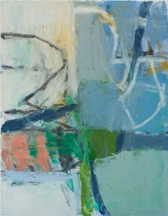 No. 5 (Blue & Green): Small Abstract Expressionist Painting on Canvas Paper
