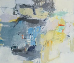 Outbound View (Abstract Oil on Linen Painting in Blue, Gray, and Yellow)