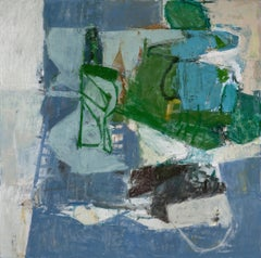 Rock, Paper, Scissors: Abstract Expressionist Painting on Canvas in Blue & Green