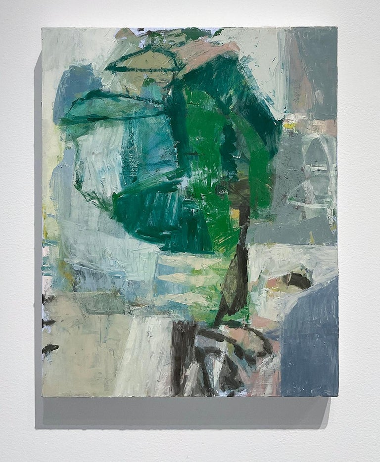 This Place 6 (Blue, Green and Grey Abstract Expressionist Painting on Canvas)  - Gray Abstract Painting by Jenny Nelson