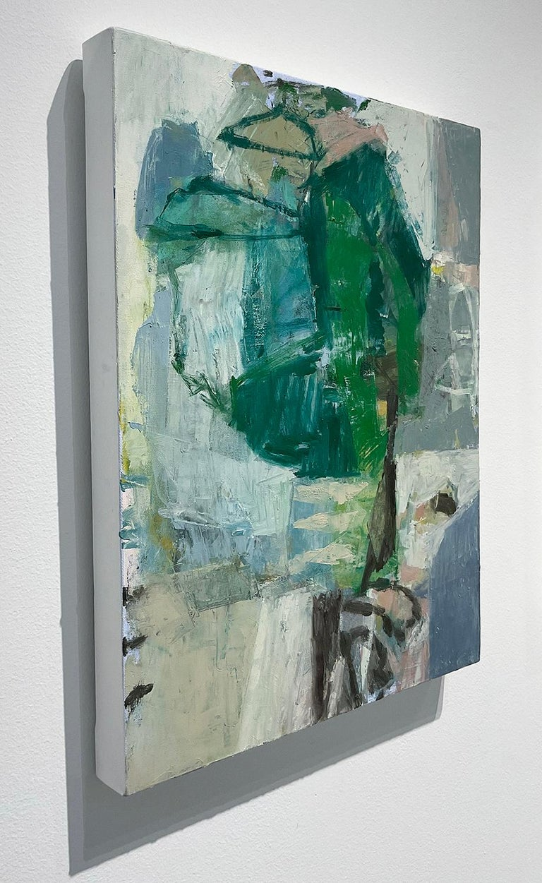 Vertical, abstract expressionist oil painting on canvas in stone blue, forest green and grey with accents of dusty pink, white and black  'What Do I know of This Place (6)' painted by Hudson Valley artist, Jenny Nelson, in 2021 Oil on canvas 20 x 16