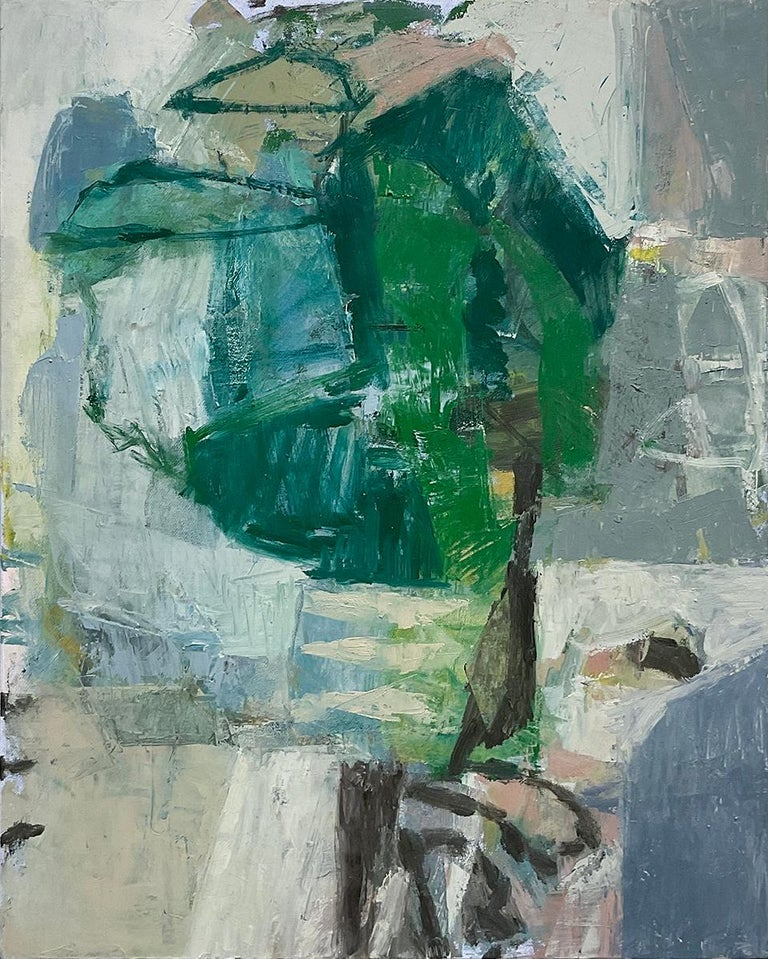 Jenny Nelson Abstract Painting - This Place 6 (Blue, Green and Grey Abstract Expressionist Painting on Canvas)