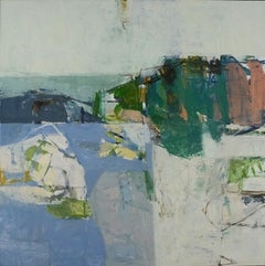 Traveling (Contemporary Abstract Oil Painting in Blue, Coral, and Teals)