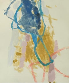 Untitled 3: Abstract Monotype on Paper in Yellow, Pink, & Blue with 8 Ply Mat