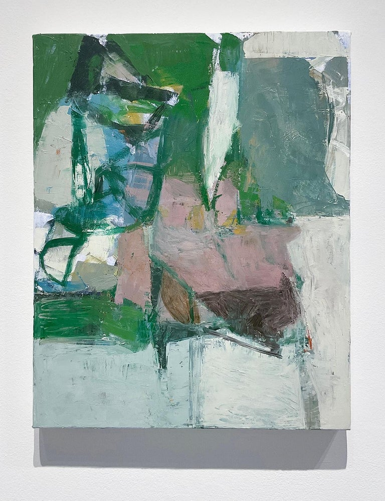 Vertical, abstract expressionist oil painting on canvas in stone blue, dusty peach, green and black, against an off-white grey background 'What Do I know of This Place (3)' painted by Hudson Valley artist, Jenny Nelson, in 2021 Oil on canvas 20 x 16