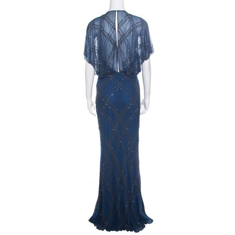 Jenny Packham Blue Embellished Silk Cutout Back Detail Blouson Gown M In Good Condition For Sale In Dubai, Al Qouz 2