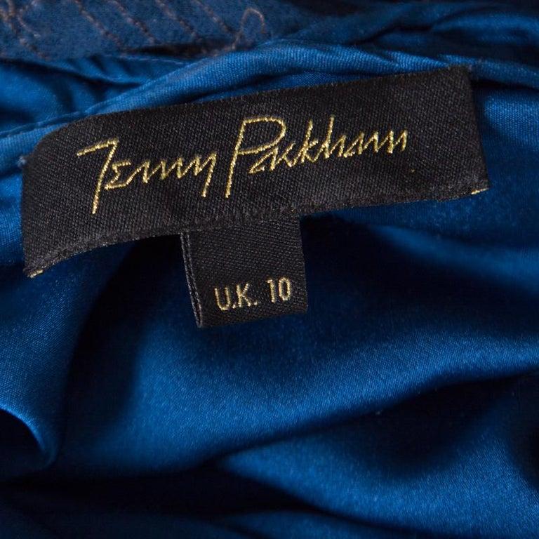 Women's Jenny Packham Blue Embellished Silk Cutout Back Detail Blouson Gown M For Sale