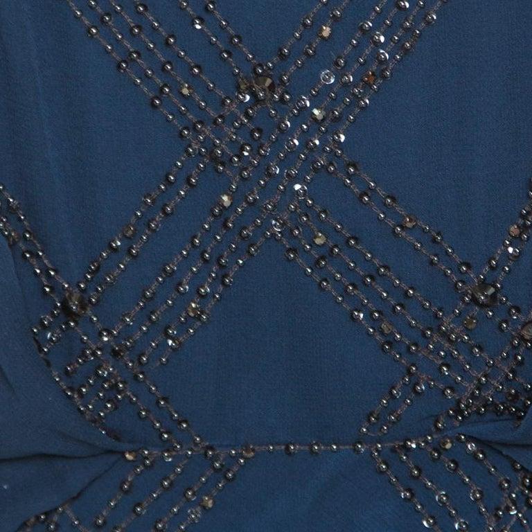 Jenny Packham Blue Embellished Silk Cutout Back Detail Blouson Gown M For Sale 2