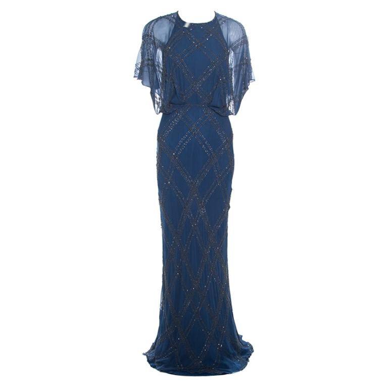 Jenny Packham Blue Embellished Silk Cutout Back Detail Blouson Gown M For Sale