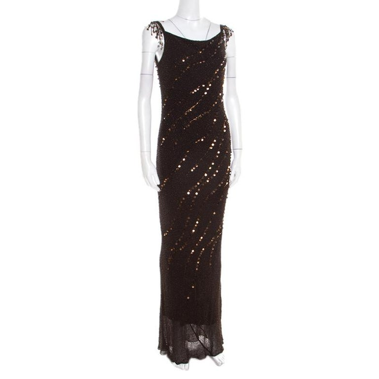 Black Jenny Packham Brown Beaded Tassel Detail Sleeveless Gown and Scarf Set M For Sale