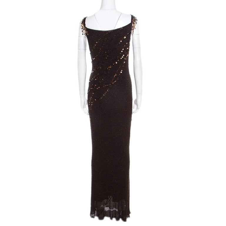 Jenny Packham Brown Beaded Tassel Detail Sleeveless Gown and Scarf Set M In Good Condition For Sale In Dubai, Al Qouz 2