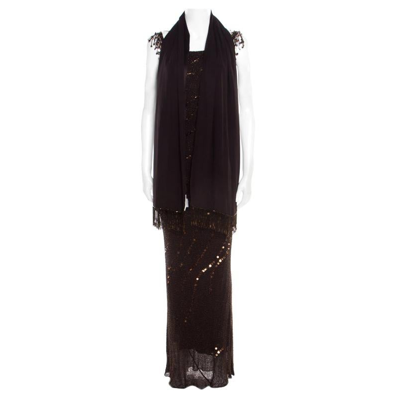 Jenny Packham Brown Beaded Tassel Detail Sleeveless Gown and Scarf Set M