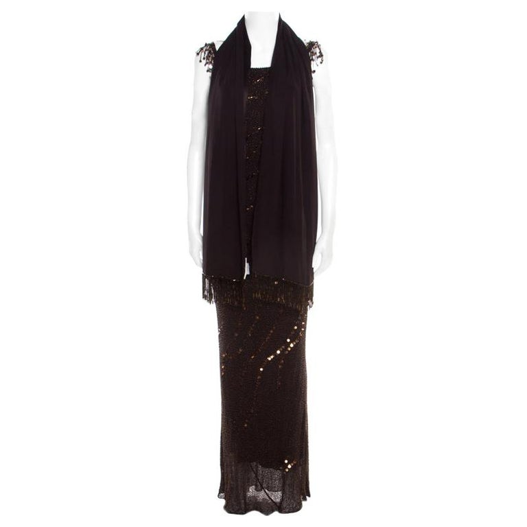 Jenny Packham Brown Beaded Tassel Detail Sleeveless Gown and Scarf Set M For Sale