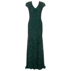 Jenny Packham Green Embellished Matador Evening Gown