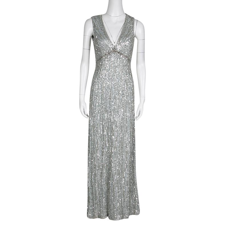 Jenny Packham Grey Sequin Embellished V Neck Sleeveless Gown S For