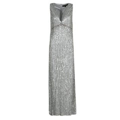 Jenny Packham Grey Sequin Embellished V-Neck Sleeveless Gown S