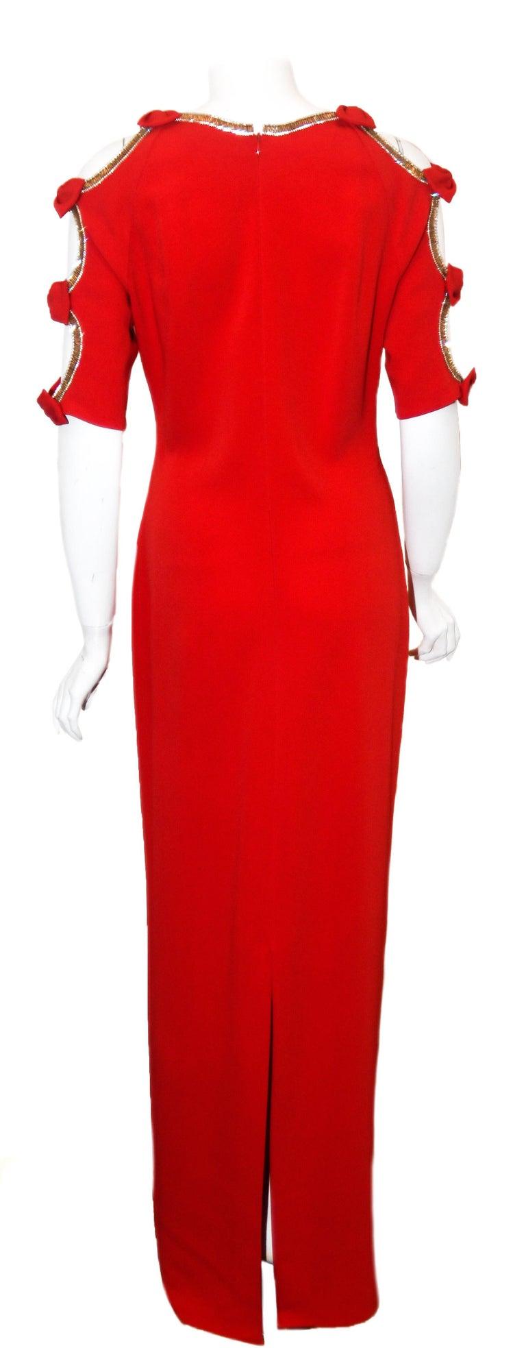 Women's Jenny Packham Red Gown W/ Cold Shoulder Embellished Sleeves For Sale