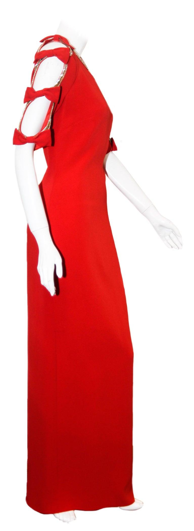 Jenny Packham Red Gown W/ Cold Shoulder Embellished Sleeves For Sale 1