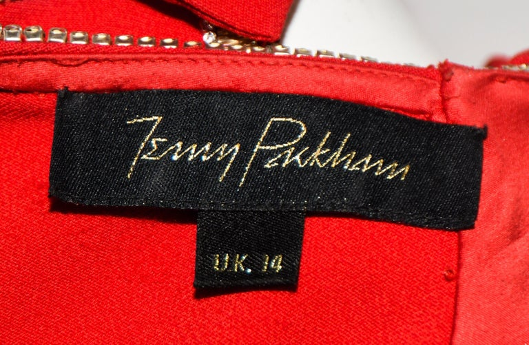 Jenny Packham Red Gown W/ Cold Shoulder Embellished Sleeves For Sale 2