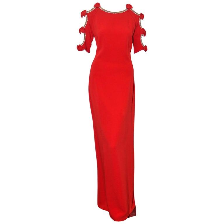 Jenny Packham Red Gown W/ Cold Shoulder Embellished Sleeves For Sale