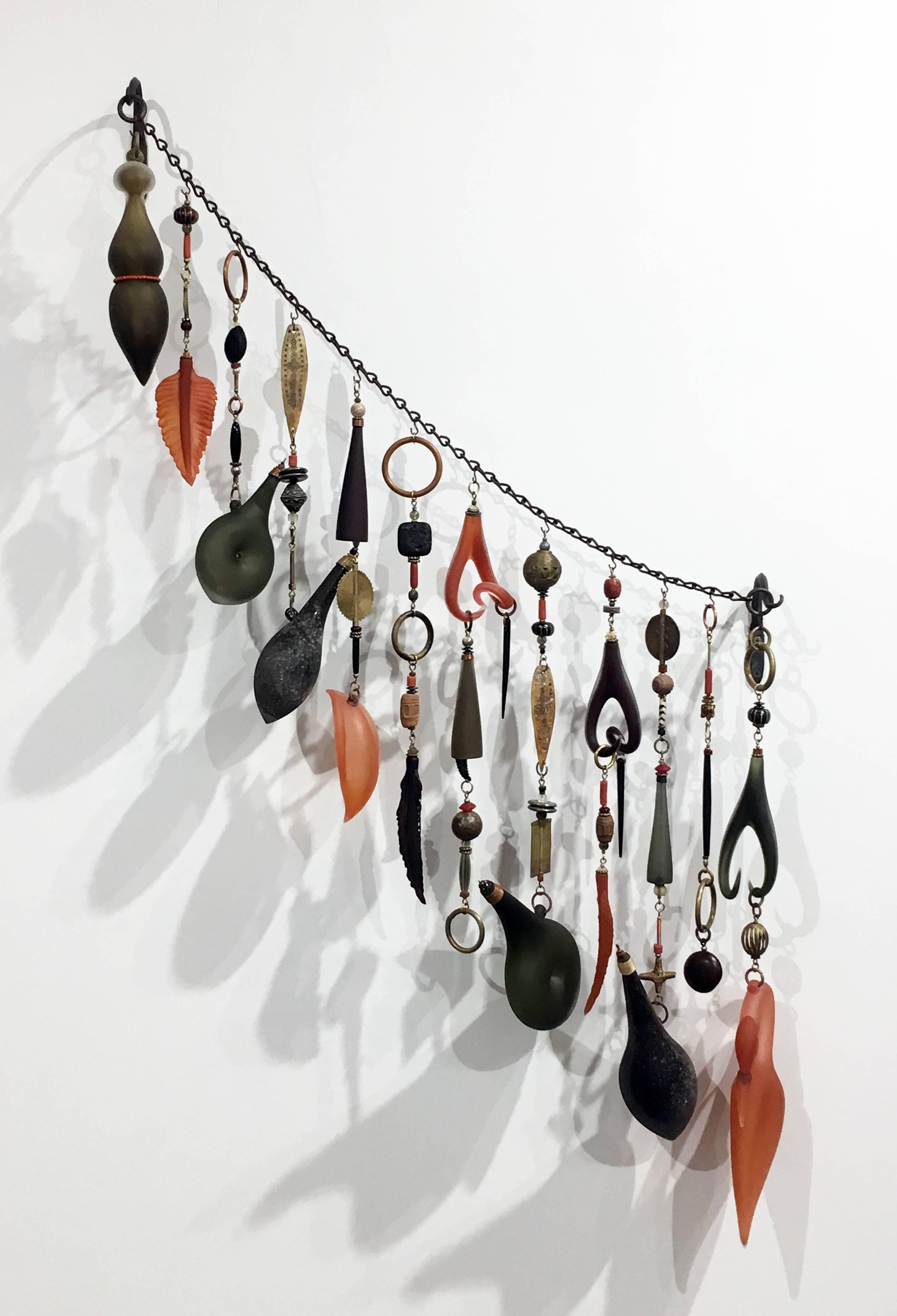 Contemporary Blown Glass and Metal Sculpture, Wall Mounting with Mixed Media