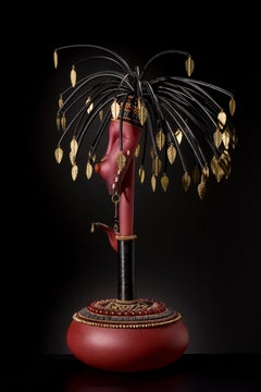 """Kali with Tear Catcher, Head Pot Series"", Blown, Sculpted and Sandblasted Glass"