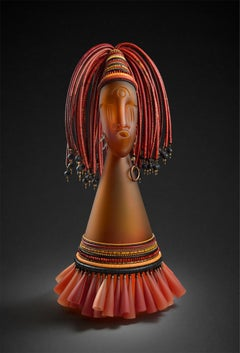 """Untitled, Head Cone Series"", Blown, Sculpted, and Sandblasted Glass; Beads"