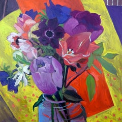 'Birthday Flowers' Contemporary Still Life Painting of Colourful flowers