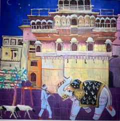 'By Moonlight' Contemporary Colourful painting with elephant, buildings, figure