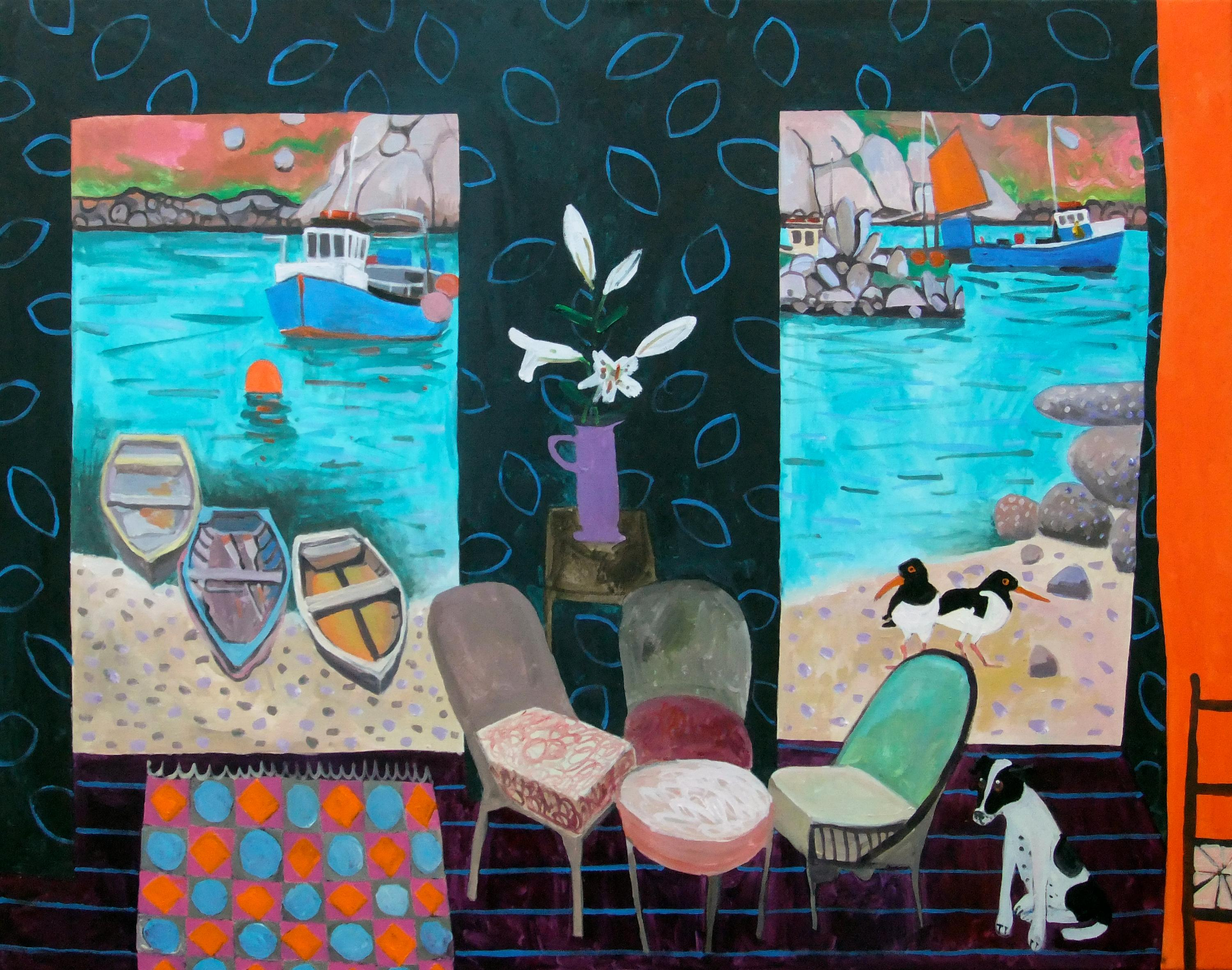 'Channel' Colourful Contemporary Interior Painting with harbour, boats & dog