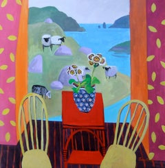 Contemporary Cornish Interior Painting 'Sheep on a Hillside' by Jenny Wheatley
