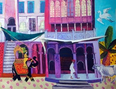 Contemporary Indian Landscape Painting 'Heading to the Market' Jenny Wheatley
