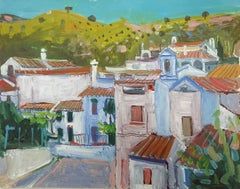 Contemporary Landscape Painting 'Hill Village Priego' by Jenny Wheatley