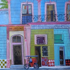 Contemporary Modern Cuban Landscape Painting 'Waiting for a Fare' Jenny Wheatley