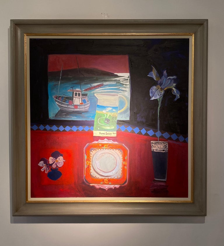 'Homeward Bound' Contemporary Interior painting, with boat, flowers and table - Painting by Jenny Wheatley