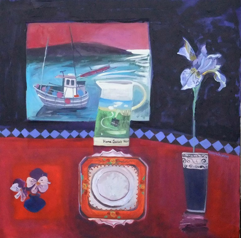 Jenny Wheatley Abstract Painting - 'Homeward Bound' Contemporary Interior painting, with boat, flowers and table