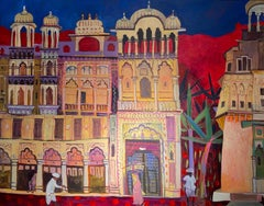 'Painted Haveli' Contemporary Colourful Indian Painting of Temple & Figures. Red