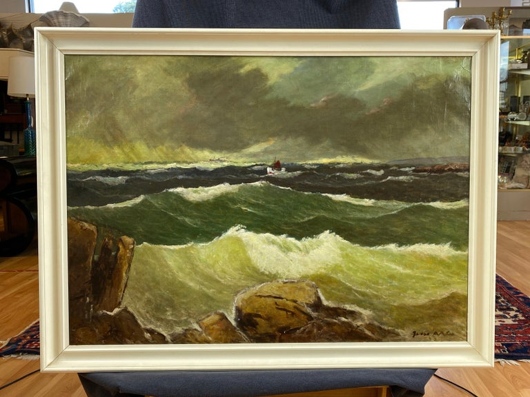 """Jens Aabo """"Stormy Seas Off a Danish Coast"""", Oil Painting, 1953 For Sale 4"""