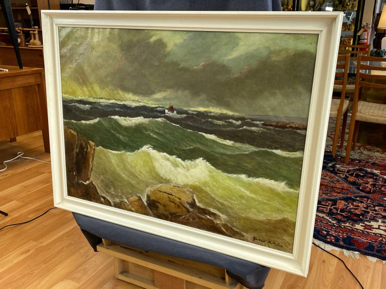"""Jens Aabo """"Stormy Seas Off a Danish Coast"""", Oil Painting, 1953 For Sale 5"""