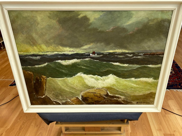 """Jens Aabo """"Stormy Seas Off a Danish Coast"""", Oil Painting, 1953 For Sale 6"""