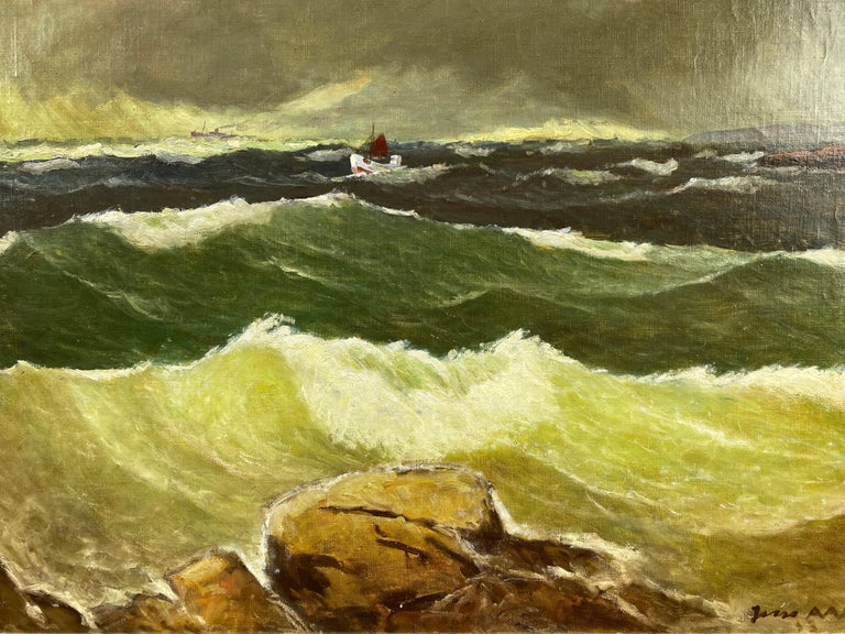 """Mid-Century Modern Jens Aabo """"Stormy Seas Off a Danish Coast"""", Oil Painting, 1953 For Sale"""