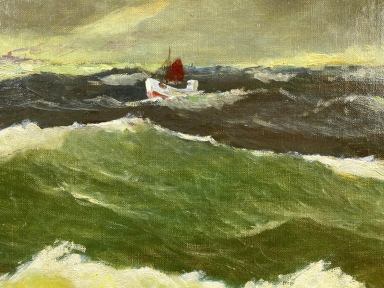 """Jens Aabo """"Stormy Seas Off a Danish Coast"""", Oil Painting, 1953 In Good Condition For Sale In San Francisco, CA"""