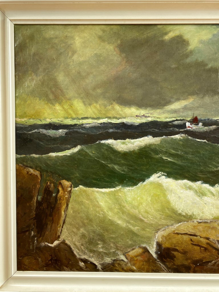 """Mid-20th Century Jens Aabo """"Stormy Seas Off a Danish Coast"""", Oil Painting, 1953 For Sale"""