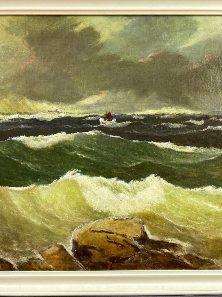 """Canvas Jens Aabo """"Stormy Seas Off a Danish Coast"""", Oil Painting, 1953 For Sale"""