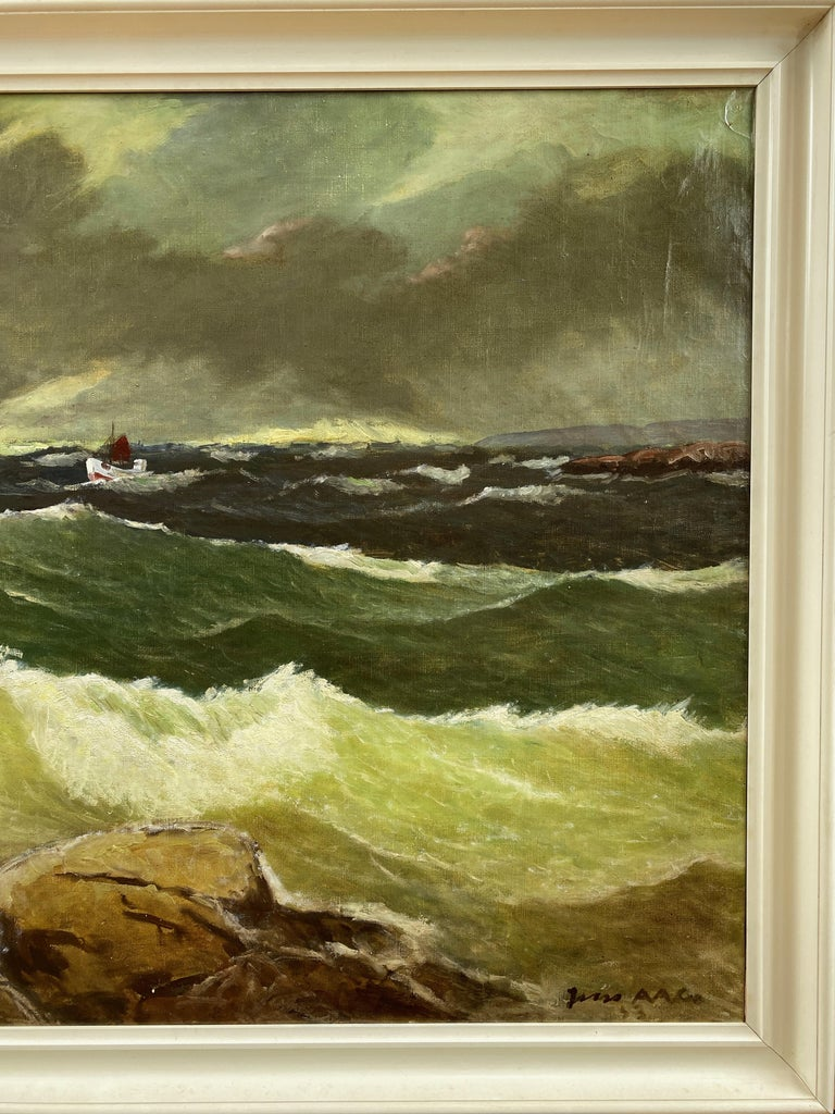 """Jens Aabo """"Stormy Seas Off a Danish Coast"""", Oil Painting, 1953 For Sale 1"""