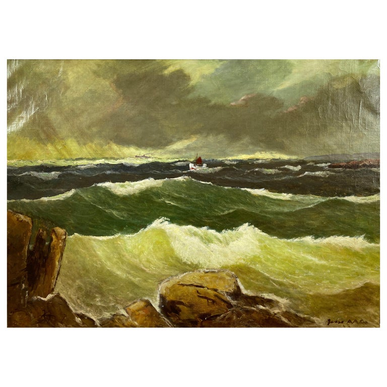 """Jens Aabo """"Stormy Seas Off a Danish Coast"""", Oil Painting, 1953 For Sale"""